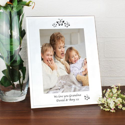 Personalised Mirrored Butterfly Swirl Glass Photo Frame 5x7
